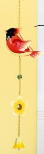 GILDE Deko-Hänger Vogel aus Glas und Metall, rot, gelb, 53 cm