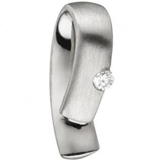 Anhänger 950 Platin teil matt 1 Diamant Brillant 0, 06ct.