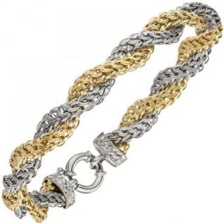 Armband 375 Gold Weißgold Gelbgold bicolor diamantiert 21 cm