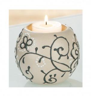 GILDE Teelichthalter aus Keramik in Beige Grau Weiß, 10, 5 x 9, 5 cm