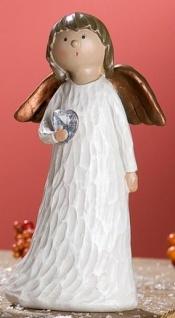 GILDE Dekofigur stehender Engel Heidi mit Herz, 4 x 6 x 11 cm