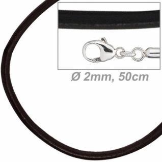 Leder Halskette Schnur schwarz 50 cm, Karabiner 925 Sterling Silber