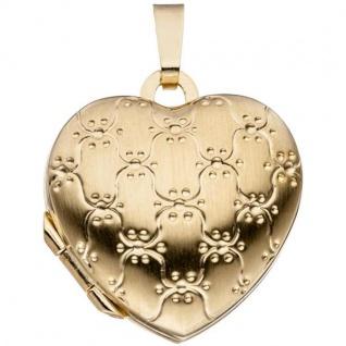 Medaillon Herz 333 Gelbgold mattiert
