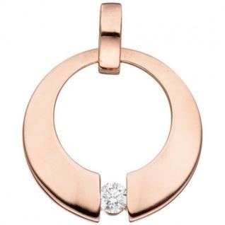 Anhänger rund 585 Gold Rotgold 1 Diamant Brillant 0, 08ct.