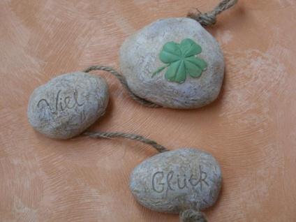 3 Deko-Natursteine mit Viel Glück und Kleeblatt