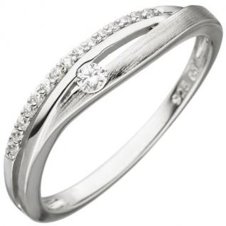Damen Ring 925 Sterling Silber teil matt 16 Zirkonia