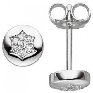 Ohrstecker Stern 925 Sterling Silber 14 Zirkonia Ohrringe
