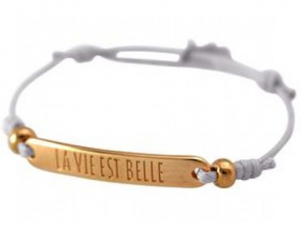 Damen Armband Gravur LA VIE EST BELLE Rose Vergoldet Hellgrau
