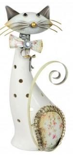 Windlicht-Katze Katzen-Deko Kater-Deko Kerzenhalter Teelichthalter cat Wackel-Kopf Metall Porzellan weiß 23cm