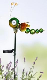 GILDE bunte Solar-Libelle aus Metall mit Gartenstab, 80, 2 cm