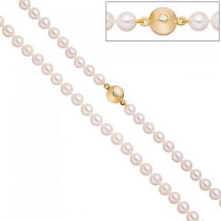 Perlenkette Akoya Perlen 45 cm Schließe Silber gold vergoldet 2 Zirkonia