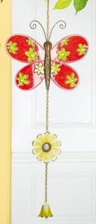 GILDE Deko-Hänger Schmetterling aus Glas und Metall, rot, 67 cm