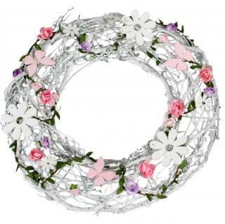 Sommer Kranz für die Tür Türkranz Blumen Bouquet weiß rosa 36 cm
