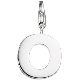 Einhänger Buchstabe O 925 Sterling Silber Anhänger für Bettelarmband