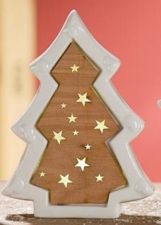 GILDE Windlicht Tannenbaum mit Holzdekor und LED weiß braun 18, 5 cm