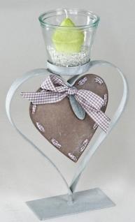 Moderner Metall Teelichthalter in Herzform inkl. Teelichtglas 32 cm
