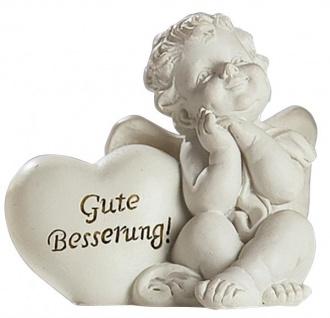 Engel Herz 2er Set Schutzengel weiss Figur 15 cm Engelset weiß Polyresin