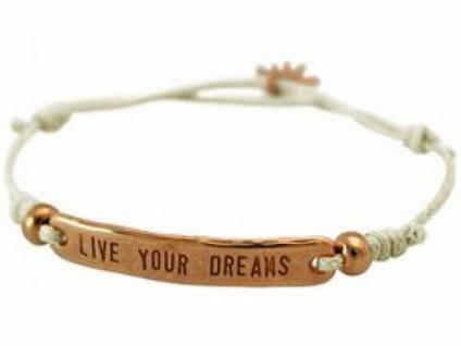 Damen Armband Gravur LIVE YOUR DREAMS Rose Vergoldet Nude