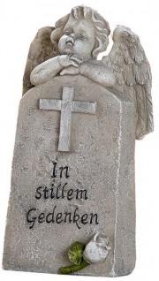 Grabengel mit Aufschrift, in stillem Gedenken, 3 x 7 x 12 cm