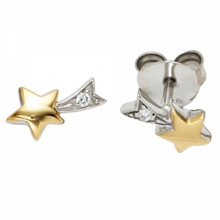 Ohrstecker Stern 925 Sterling Silber teilvergoldet 2 Zirkonia Ohrringe