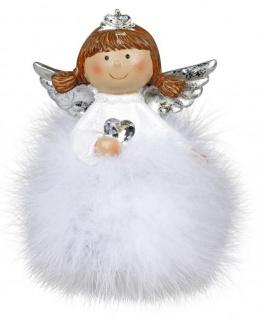 Weihnachts-Deko-Figur Engel mit Plüsch-Federn Schutzengel mit Kristallherz Weihnachtsengel Weihnachts-Fee weiss silber 8cm Winter-Engel