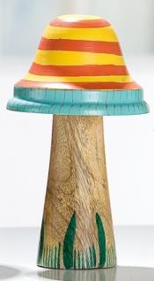 Dekofigur Pilz aus Holz und Metall, gelb mit Streifen, 16 x 9 cm