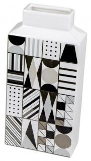 Keramik-Vase schwarz weiß gemustert Retro-Look 14 x 29 cm - Vorschau