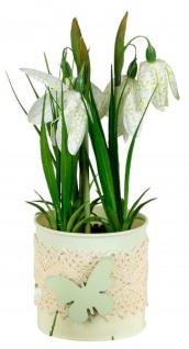 Künstlich blühende Krokusse im Topf grün weiß 20 cm