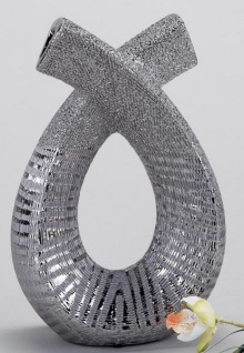 formano edle Doppel-Vase mit Silberstreifen aus Keramik, 25 cm