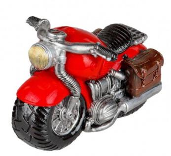 Sparschwein Motorrad Sparbüchse Spardose rot silber 15 cm
