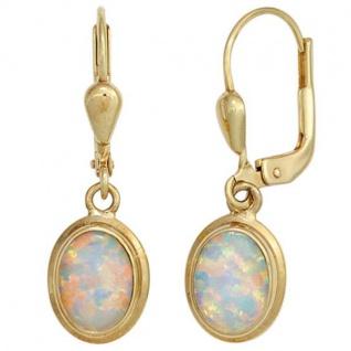 Boutons 333 Gold Gelbgold 2 Opale Ohrringe Ohrhänger