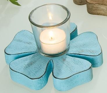 Gilde Kerzenhalter in Blümchenform mit Glas, blau, 8 x 14 cm
