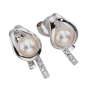 Ohrstecker 585 Weißgold 6 Diamanten Brillanten Süßwasserperlen