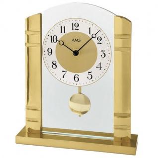 AMS 1117 Tischuhr Quarz mit Pendel golden Metall mit Alu und Glas