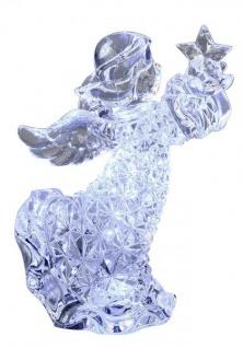 Weihnachtsengel-Figur mit Stern aus Acryl Engelfigur Diamant-Optik klar Weihnachtsdeko Figuren 16cm Groß