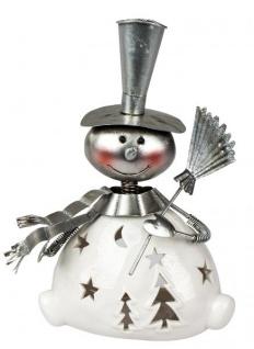 Windlicht-Schneemann mit Wackelkopf Sterne und Tannenbaum Kerzenhalter Teelichthalter weiss silber 20 cm