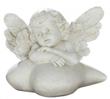 Schutz-Engel Figur Klein auf Herz Antik Weiß Beige Wetterfest 11 cm