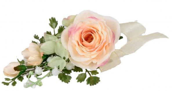 Frühjahrstischdeko Rose Lachsfarben 15 cm