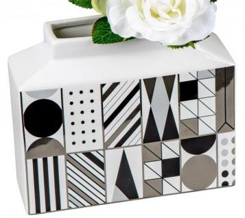 Keramik-Vase schwarz weiß gemustert Blumenvase Retro 19 x 16 cm