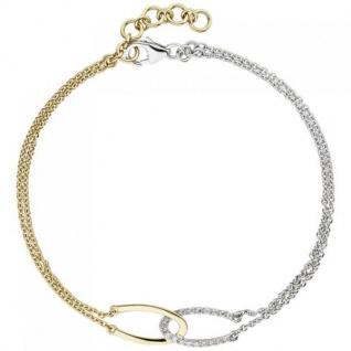 Armband 2-reihig 585 Gelbgold Weißgold bicolor 18 Diamanten 19, 5 cm