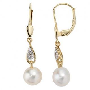 Boutons 585 Gelbgold 2 Diamanten 2 Süßwasserperlen Perlen Ohrringe