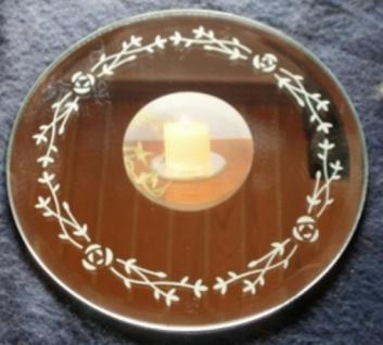 Spiegel-Kerzenteller ROSEN, 12 cm