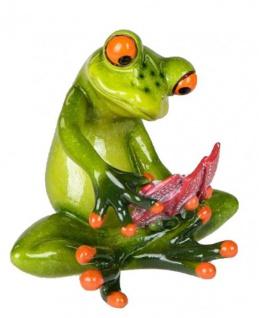 Dekofigur lustiger Frosch als Kartenspieler, 9 x 9 cm, hellgrün
