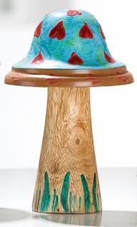 GILDE Dekofigur Pilz aus Holz und Metall, blau, 16 x 9 cm