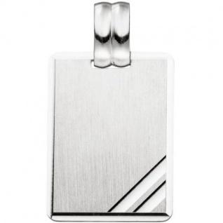 Anhänger Gravur Gravurplatte eckig viereckig 925 Silber matt mattiert
