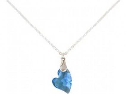 Halskette Anhänger 925 Silber Herz Blau SWAROVSKI ELEMENTS® 45 cm