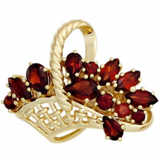 Brosche Korb 333 Gold Gelbgold 13 Granate rot Granatbrosche Goldbrosche