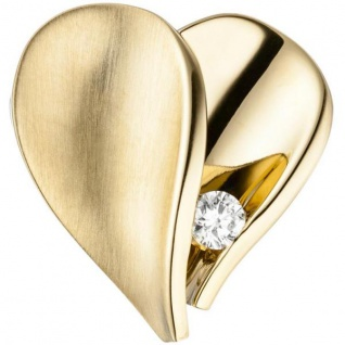 Anhänger Herz 585 Gelbgold teilmatt 1 Diamant Brillant Herz Anhänger