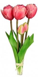 Künstliche blühende Tulpen als Bund 5 Stück grün rot 25 cm Osterblume