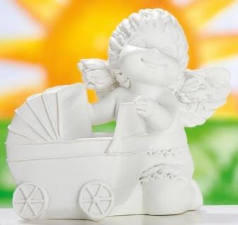 GILDE Engel Lucy mit Kinderwagen aus Polyresin, 8, 5 x 9 x 10 cm